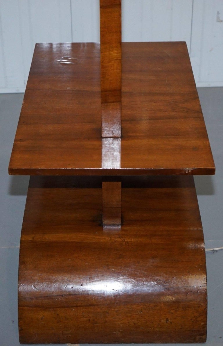 Very Rare Walnut Art Deco Large Side Table with Built in Height Adjustable Light For Sale 1