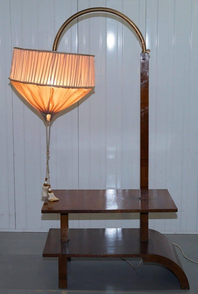 Very Rare Walnut Art Deco Large Side Table with Built in Height Adjustable Light For Sale 2