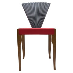 """Very Rare Wood and Metal Fan Chair by """"Cattelan Italia"""", 1980s"""