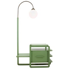 Very Rare Wooden and Chrome Bauhaus Floor Lamp, 1930s / Functionalism