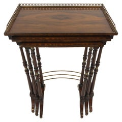 Very Refined Set of Zebra Wood Nesting Tables