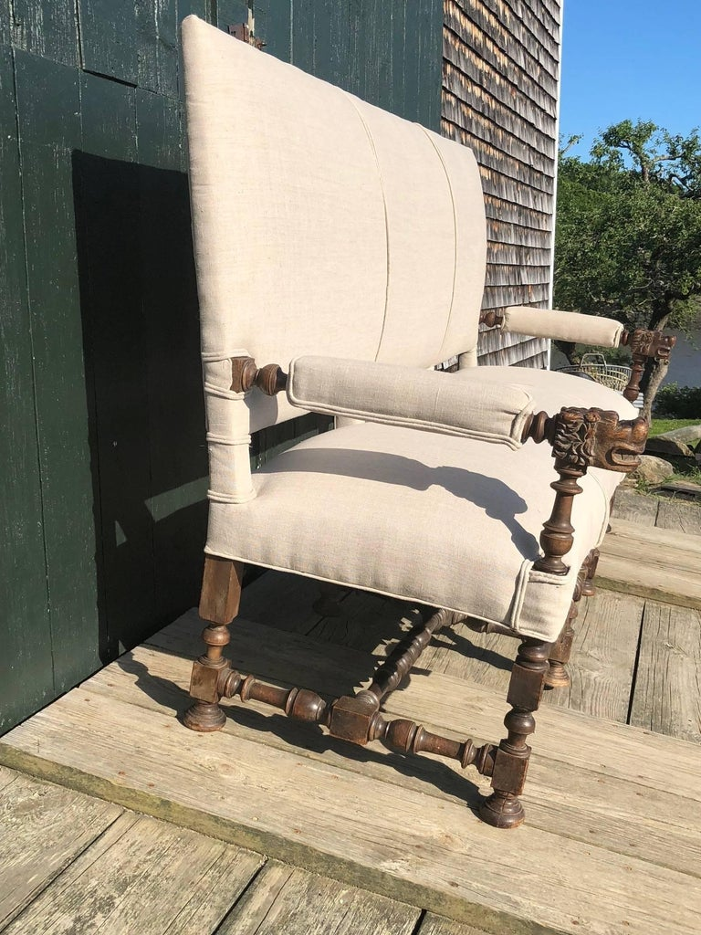 Baroque Very Regal French Carved Walnut and Upholstered Sofa For Sale