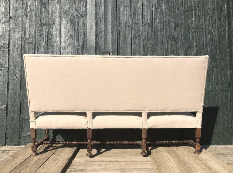 19th Century Very Regal French Carved Walnut and Upholstered Sofa For Sale