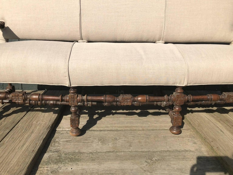 Very Regal French Carved Walnut and Upholstered Sofa For Sale 2