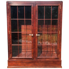 Very Rich Custom Mahogany Cabinet with Glass Doors and Adjustable Shelves