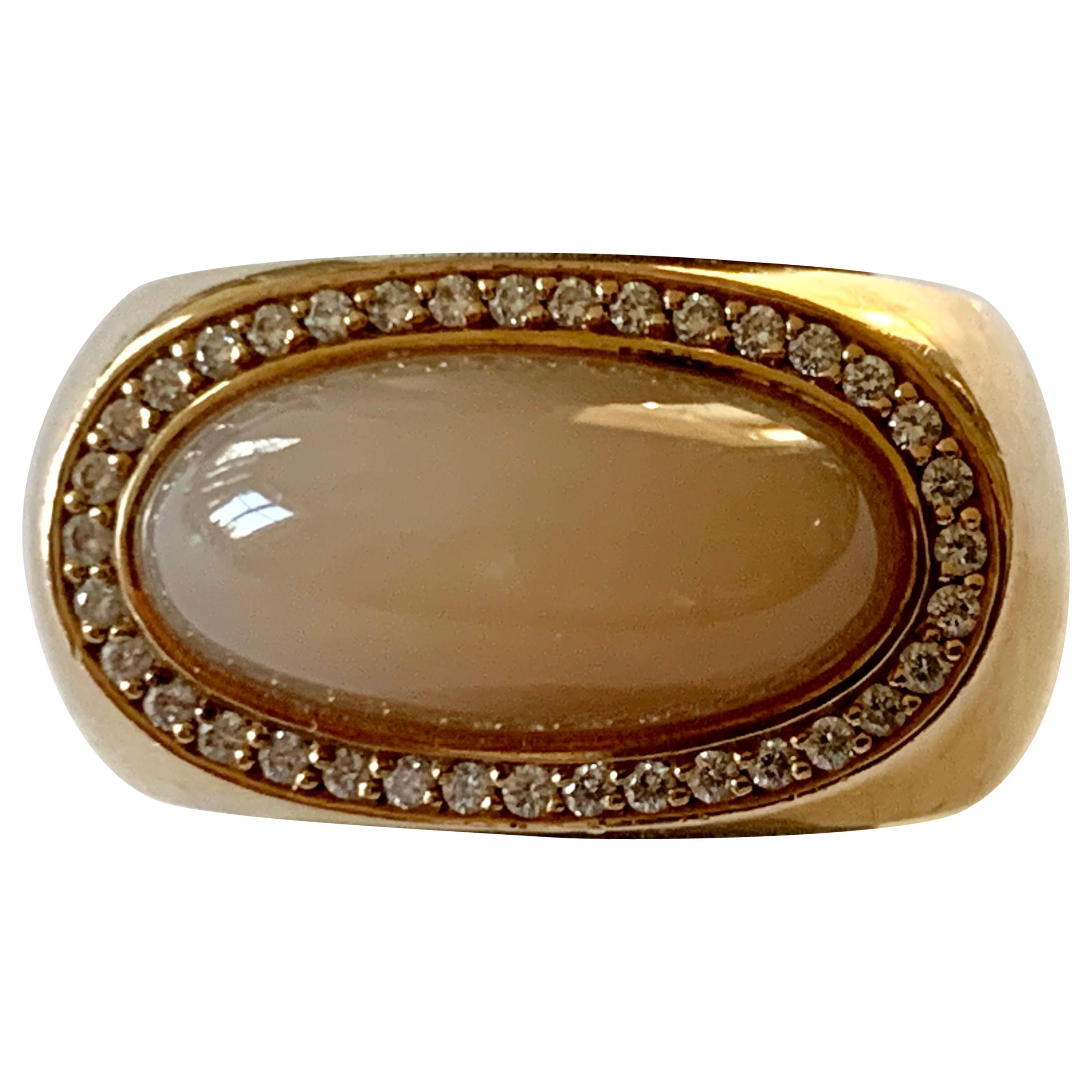 Very Solid 18 Karat Rose Gold Moonstone and Diamond Ring by Jochen Pohl