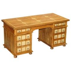Very Solid Oak and Walnut Twin Pedestal Partner Desk Designed to Hide Computer