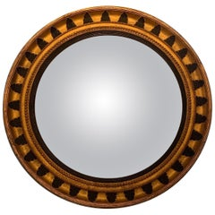 Very Striking Large Round Regency Black and Gold Mirror