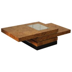 Very Stylish 1970s Burr Root Maple Coffee Table