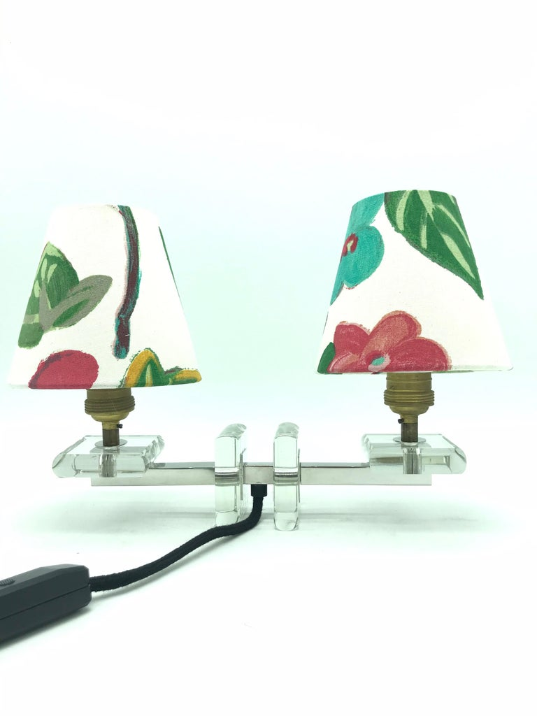 A very stylish French Art Deco table lamp in glass.  This beautiful lamp is from the 1930s but has a very modernistic design.  Rewired with an in-line dimmer switch.  Also fitted with two handmade shades from ArtbyMaj in the style of Josef Frank.