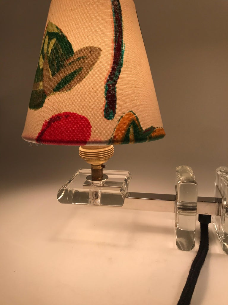 Very Stylish French Art Deco Table Lamp in Glass For Sale 4