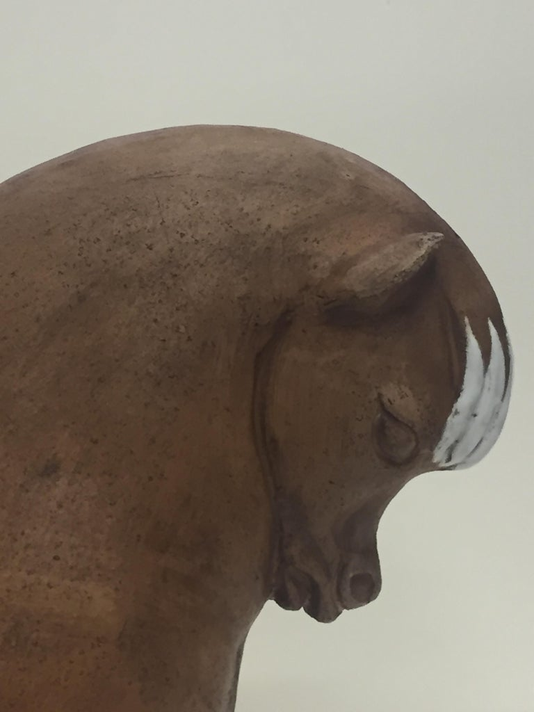 Mid-20th Century Very Stylized Italian Terracotta and White Glazed Horse Sculpture For Sale