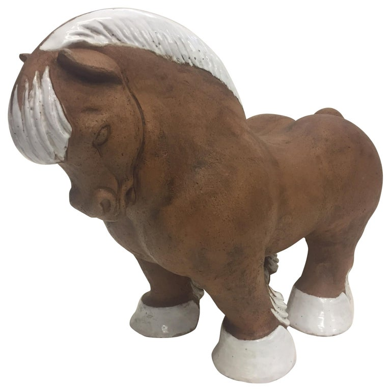 Very Stylized Italian Terracotta and White Glazed Horse Sculpture For Sale