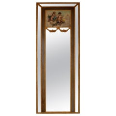 Very Tall Antique Giltwood Mirror with Oil Painting