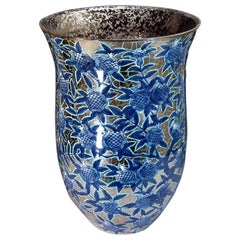 Very Tall Contemporary Japanese Blue Platinum Porcelain Vase by Master Artist