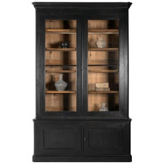 Very Tall French 19th Century Louis Philippe Bookcase in Black Paint