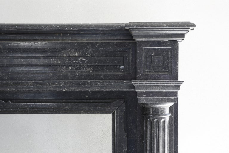 French Very Unique Antique Fireplace of Belgian Bluestone, Neoclassical Style For Sale