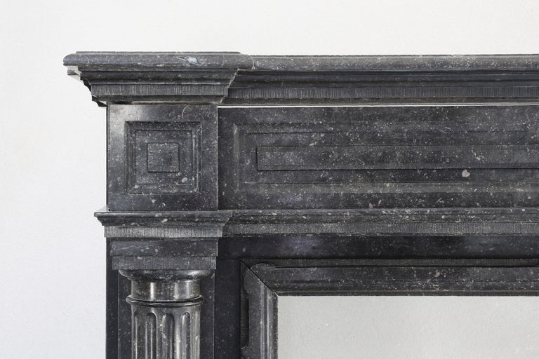 Very Unique Antique Fireplace of Belgian Bluestone, Neoclassical Style In Good Condition For Sale In Made, NL