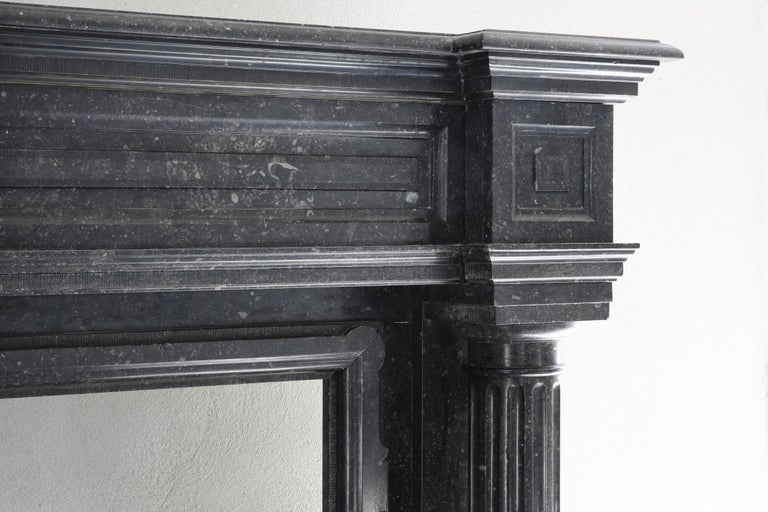 18th Century and Earlier Very Unique Antique Fireplace of Belgian Bluestone, Neoclassical Style For Sale