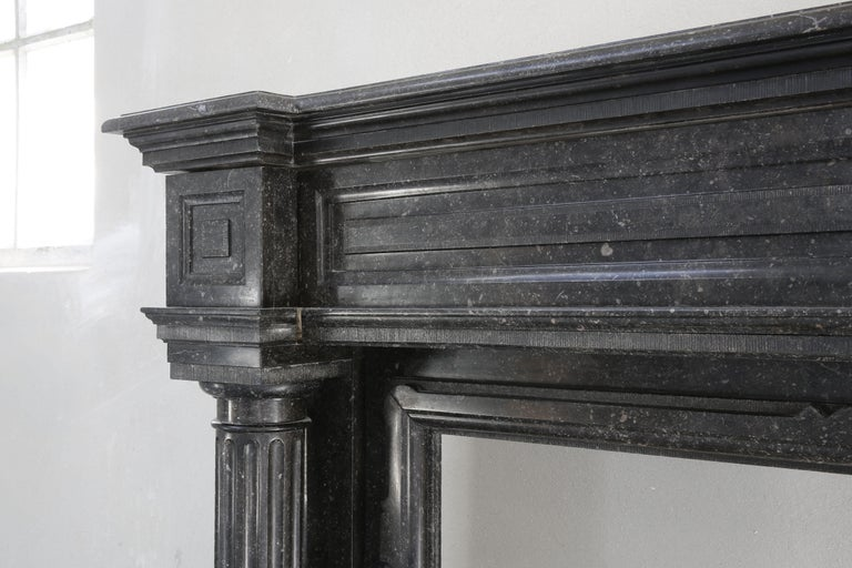Limestone Very Unique Antique Fireplace of Belgian Bluestone, Neoclassical Style For Sale
