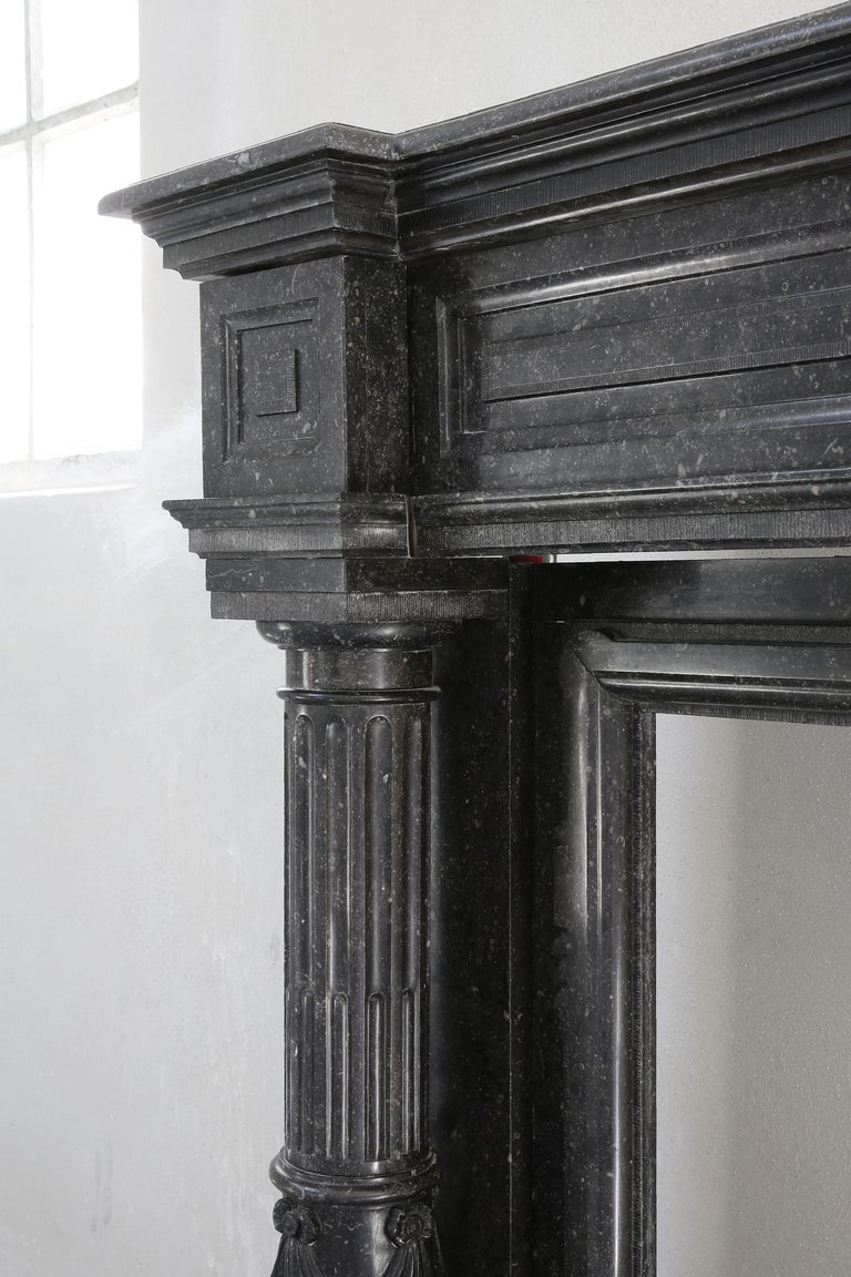 Very Unique Antique Fireplace of Belgian Bluestone, Neoclassical Style For Sale 1