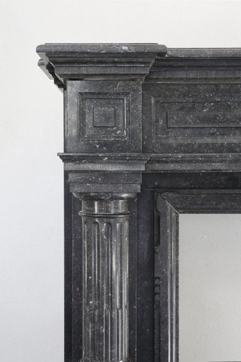 Very Unique Antique Fireplace of Belgian Bluestone, Neoclassical Style For Sale 2