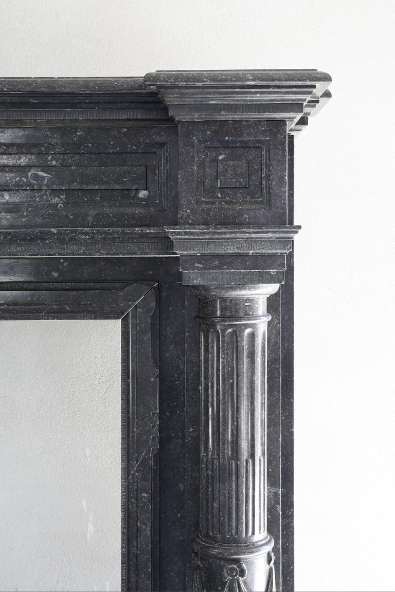 Very Unique Antique Fireplace of Belgian Bluestone, Neoclassical Style For Sale 3