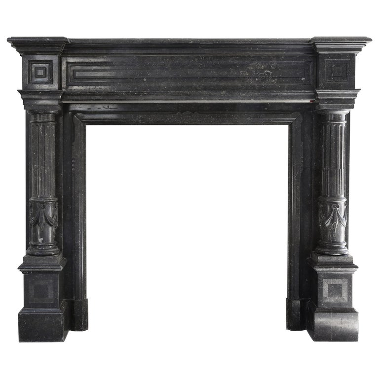 Very Unique Antique Fireplace of Belgian Bluestone, Neoclassical Style For Sale