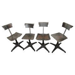 Very Unique Set of Four Industrial Spinning Chairs