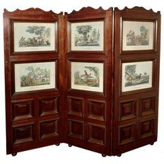 Very Unusual 3 Fold Mahogany Room Divider with Hunting Prints