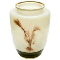 Very Unusual Hand Colored Pressed Glass Vase Decorated with Gold Rim, 1940s
