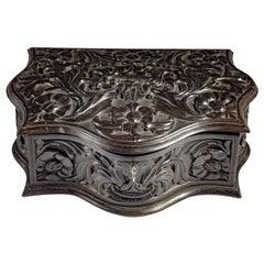 Very Unusual Mid 19th Century Ceylonese Carved Ebony Workbox