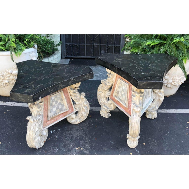 Very unusual associated pair of antique 18th century carved Venetian table. Similar but different: The taller table is 26.5