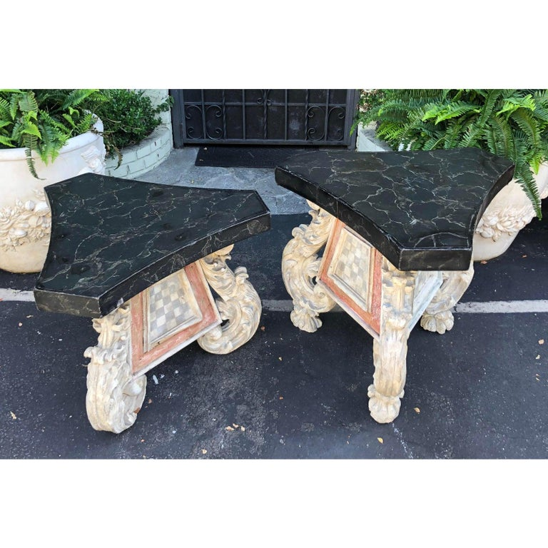 Rococo Very Unusual Pair of Antique 18th Century Carved Venetian Tables For Sale