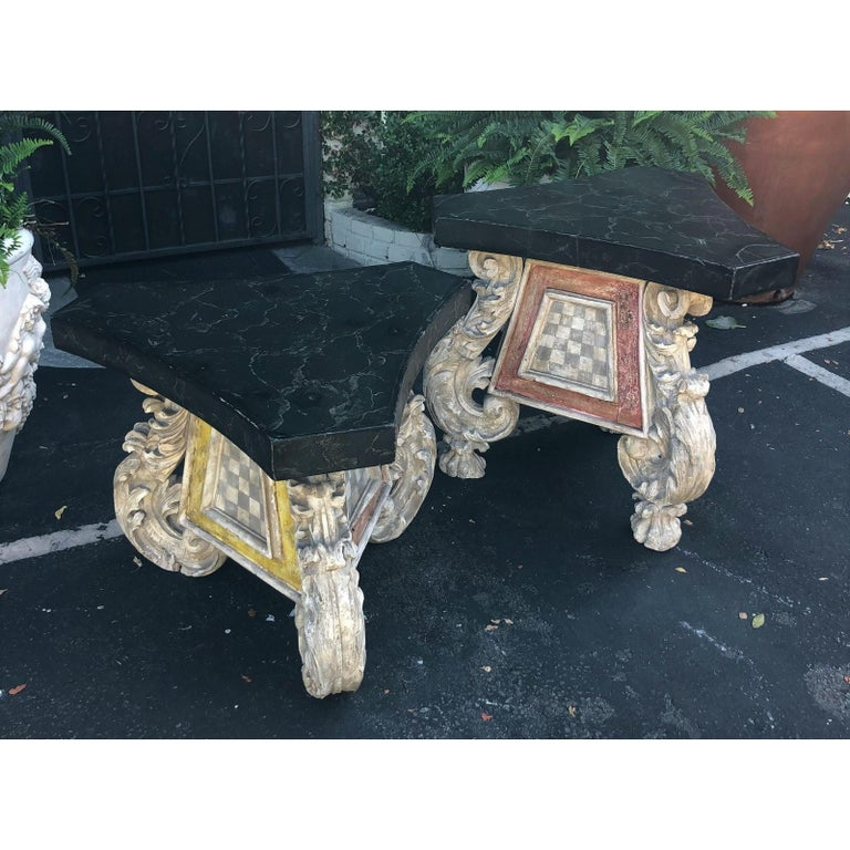 Italian Very Unusual Pair of Antique 18th Century Carved Venetian Tables For Sale