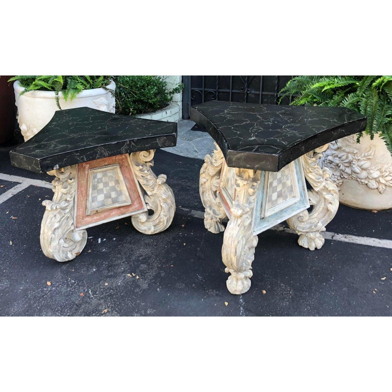 Very Unusual Pair of Antique 18th Century Carved Venetian Tables In Good Condition For Sale In LOS ANGELES, CA