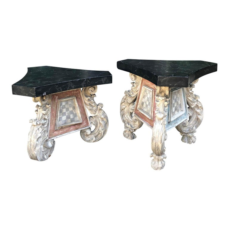 Very Unusual Pair of Antique 18th Century Carved Venetian Tables For Sale
