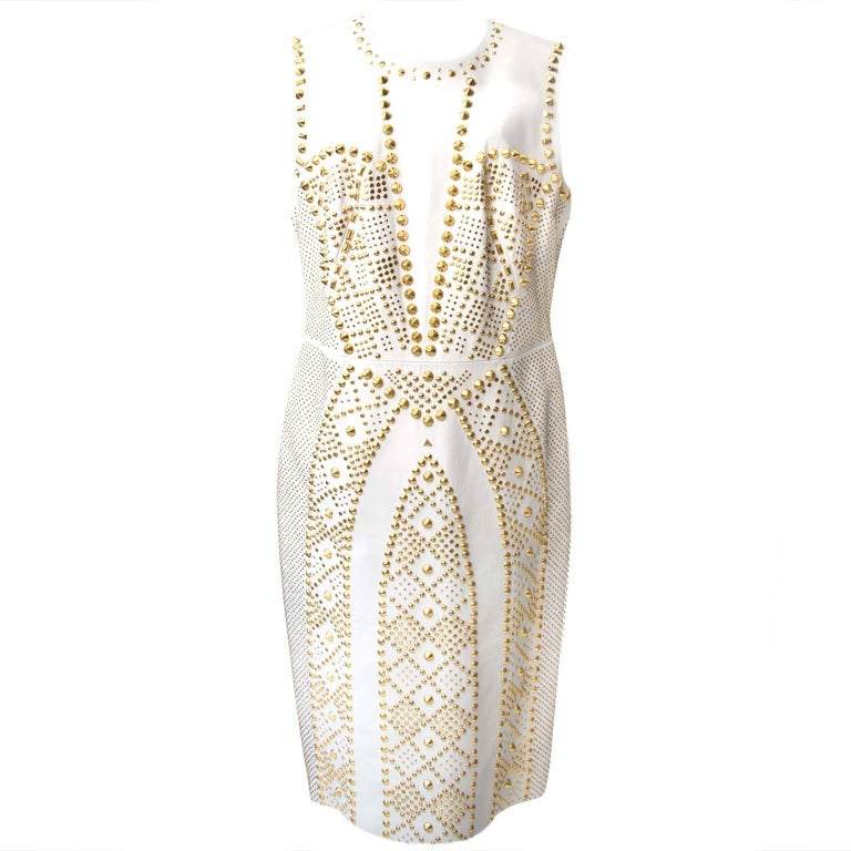 Very wanted Versace White Leather Studded Dress 2012 collection