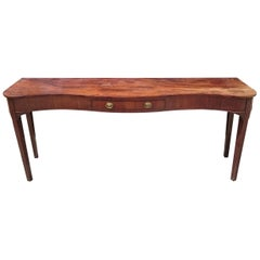 Very Wide George III Period 18th Century Irish Mahogany Serpentine Serving Table