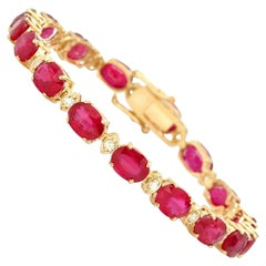 VeryImpressive 26.90ct Natural Red Ruby and Diamond 14 Karat Solid Gold Bracelet