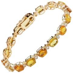 VeryImpressive 30.65Ct Natural Sapphire & Diamond 14K Solid Yellow Gold Bracelet