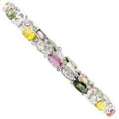 6.70Ct Natural Multi-Color Ceylon Sapphire & Diamond 14KSolid WhiteGold Bracelet