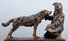 Village Kinship (bronze, musher, sled dog, intimacy, team)