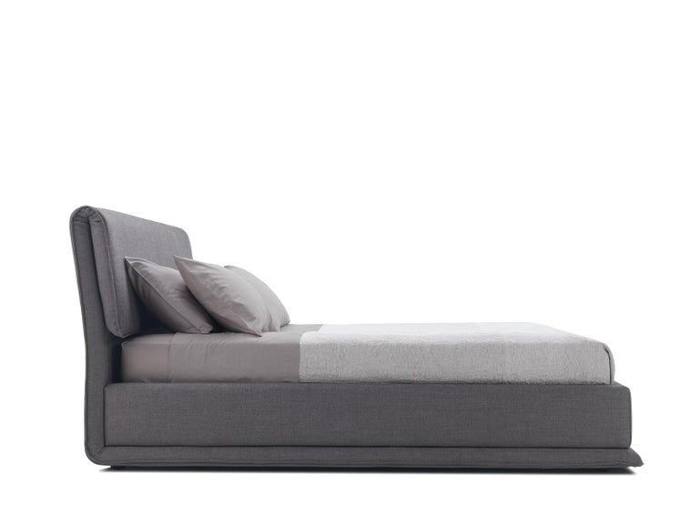'VERZIERE' King Size Bed with Smoke Gray Upholstered Headboard and Bed Frame 2