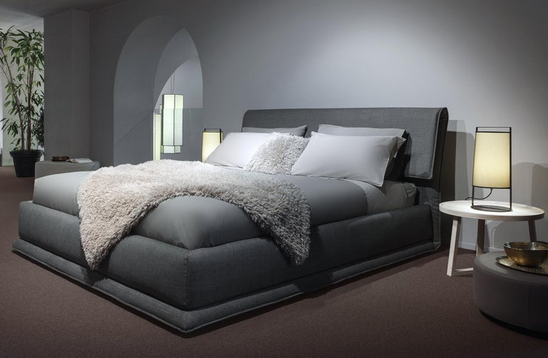 'VERZIERE' King Size Bed with Smoke Gray Upholstered Headboard and Bed Frame 3