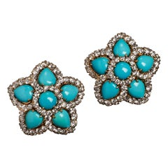 Veschetti 18 Karat White and Yellow Gold, Turquoise, Diamond Earrings