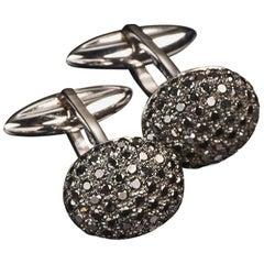 Veschetti 18 Karat White Gold Black Diamond Cufflinks