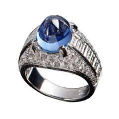 Veschetti 18 Karat White Gold, Ceylon Sugar Loaf Sapphire, Diamond Cocktail Ring