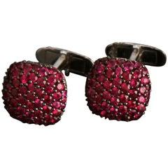 Veschetti 18 Karat White Gold Ruby Cufflinks