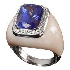 Veschetti 18 Karat White Gold, Skin Angel Coral, Tanzanite, Diamond Ring